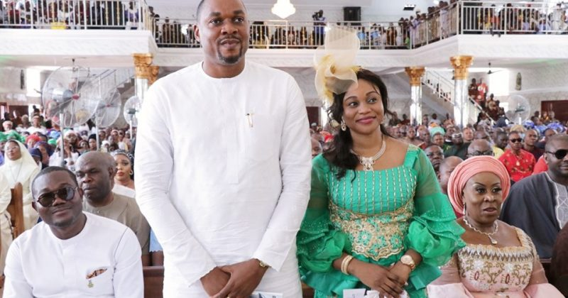 Ifeanyichukwu Ibezi and his wife at the Church dedication of St. Dominic Catholic Church, Abatete